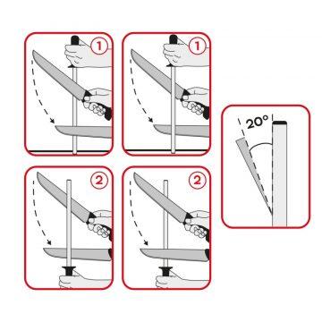 Como se debe usar la chaira afilando un cuchillo