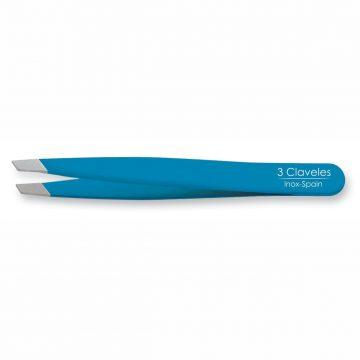 Pinza de Depilar Sesgada Azul 9cm – 3 Claveles 12277 – Cuchillalia