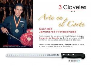 Cuchillo Jamonero Alveolado 3 Claveles 964 POMde 29cm
