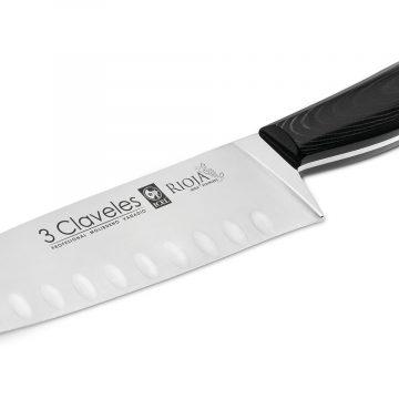 Cuchillo Santoku 18cm 7″ Línea RIOJA – 3 Claveles Perspectiva