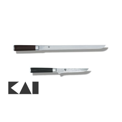 Lote de 2 cuchillos KAI Shun Damasco formado por el Jamonero DM-0735 y el Deshuesador DM-0710