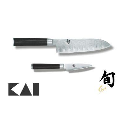 Lote de 2 cuchillos KAI Shun Damasco formado por el Santoku Alveolado DM-0718 y el Mondador DM-0700