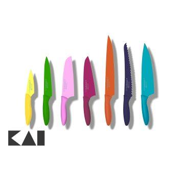 Lote de 7 cuchillos japoneses de colores de KAI de la colección Pure Komachi 2
