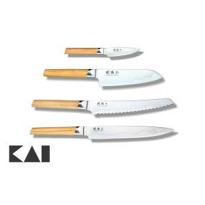 Lote básico de 4 cuchillos para la cocina KAI Seki Magoroku Composite: Mondador MGC-0400 Chef MGC-0402 Panero MGC-0405 Fileteador MGC-0404