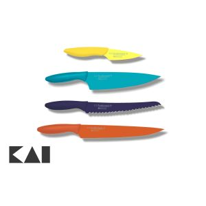 Lote básico de 4 cuchillos para la cocina KAI Pure Komachi 2: Mondador AB-5700 Chef AB-5706 Panero AB-5705 Fileteador AB-5704