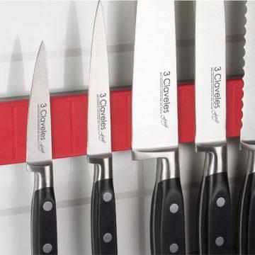 Bisbell 17211 – Barra/Soporte Magnética Goma-Soft Touch Rojo 30 cm (max. 5 cuchillos)