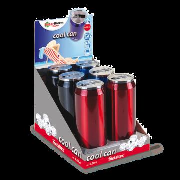Display Lata Isotérmica de 500 ml con boquilla abatible colores Azul, Negra y Rojo – Metaltex 899772
