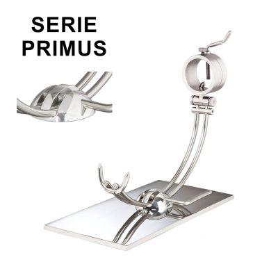 "Soporte jamonero Afinox Serie PRIMUS ""PR-AB"" con base de Acero Brillo Espejo y cabezal giratorio"