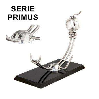 """Soporte jamonero Afinox Serie PRIMUS """"PR-GN"""" con base de Granito Negro y cabezal giratorio"""