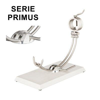 "Soporte jamonero Afinox Serie PRIMUS ""PR-SB"" con base de Silestone Blanco NO Estelar y cabezal giratorio"
