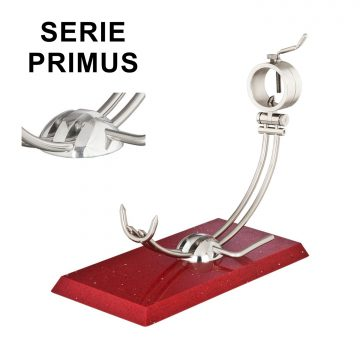 """Soporte jamonero Afinox Serie PRIMUS """"PR-SR"""" con base de Silestone Rojo Estelar y cabezal giratorio"""