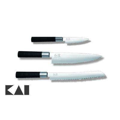 Lote de 3 cuchillos KAI Wasabi Black Mondador KAI 6710P Chef KAI 6720C Panero KAI 6723B