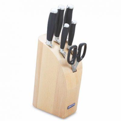 Cuchillalia - Juego de cuchillos ARCOS Kyoto 179200 - Mondador 10 cm, Cuchillo de cocina 16cm, Chef de 21cm, Panero, Jamonero y Tijera de Cocina
