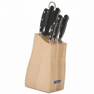Cuchillalia - Arcos Riviera 234200 - Juego de Cuchillos en Taco de Madera de haya (5 cuchillos + Chaira)