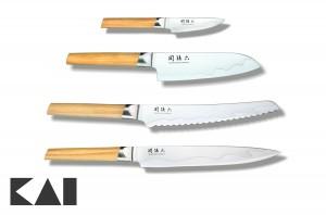 Lote básico de 4 cuchillos para la cocina KAI Seki Magoroku Composite - Mondador MGC-0400 Chef MGC-0402 Panero MGC-0405 Fileteador MGC-0404
