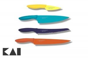 Lote básico de 4 cuchillos para la cocina KAI Pure Komachi 2 - Mondador AB-5700 - Chef AB-5706 - Panero AB-5705 - Fileteador AB-5704