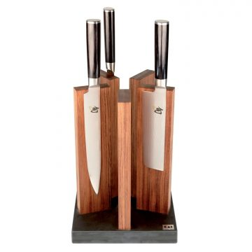Taco para cuchillos KAI STH-1, en madera de palo rosa, magnético, con base de granito, con cuchillos – Cuchillalia