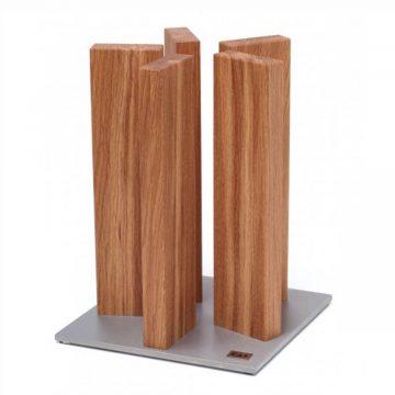 Taco para cuchillos KAI STH-3, en madera de roble, magnético, con base de acero inoxidable – Cuchillalia