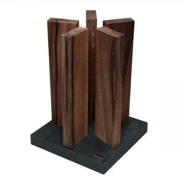 Taco para cuchillos KAI STH-4, en madera de nogal, magnético, con base de acero inoxidable – Cuchillalia