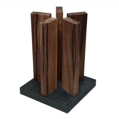 Taco para cuchillos KAI STH-4, en madera de nogal, magnético, con base de acero inoxidable - Cuchillalia