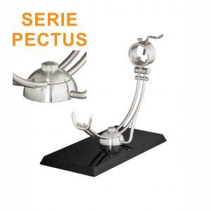 """Soporte jamonero Afinox Serie PECTUS """"PE-SN"""" con base de Silestone Negro Estelar y cabezal giratorio"""