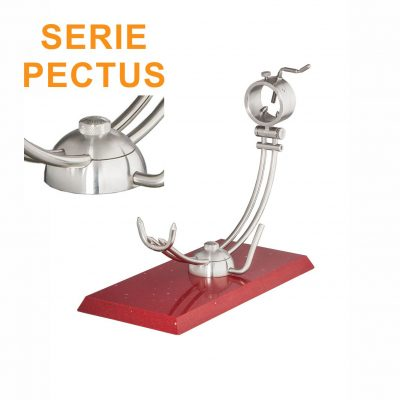 """Soporte jamonero Afinox Serie PECTUS """"PE-SR"""" con base de Silestone Rojo Estelar y cabezal giratorio"""