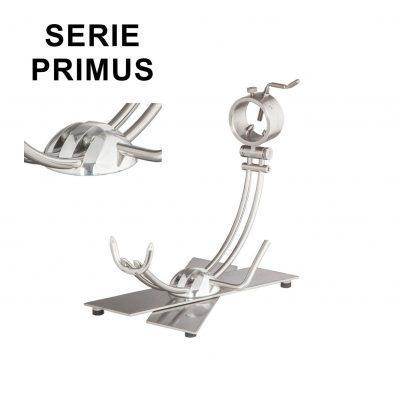 """Soporte jamonero Afinox Serie PRIMUS Modelo X """"PRX-AV"""" con base de Acero Vibrado y cabezal giratorio"""