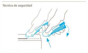 Técnica de seguridad del cúter de seguridad Martor Secunorm Mizar - Cuchillalia
