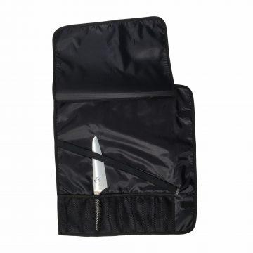 Manta / Estuche para 9 cuchillos abierta y con cuchillo de muestra, fabricado por Wüsthof, referencia 7374 – Cuchillalia