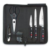 Estuche de viaje con 3 cuchillos (chef, tomatero, pelador), tijera, abrebotella y afilador - Wüsthof Classic 9789