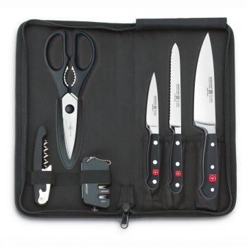 Estuche de viaje con 3 cuchillos (chef, tomatero, pelador), tijera, abrebotella y afilador – Wüsthof Classic 9789