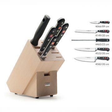 Juego de cuchillos en taco de madera – 4 cuchillos y chaira – Listado del contenido – Wüsthof Classic 9832