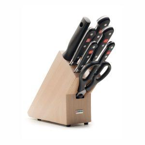 Juego de cuchillos en taco de madera - 5 cuchillos, chaira y tijeras de cocina - Wüsthof Classic 9835