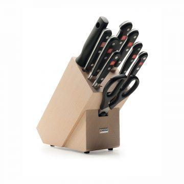 Juego de cuchillos en taco de madera – 7 cuchillos, chaira y tijeras de cocina – Wüsthof Classic 9842