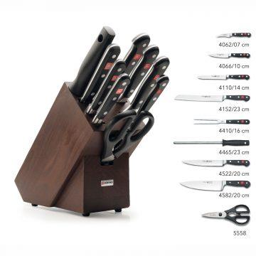Juego de cuchillos en taco de madera oscura – 7 cuchillos, chaira y tijeras de cocina – Listado del contenido – Wüsthof Classic 9843