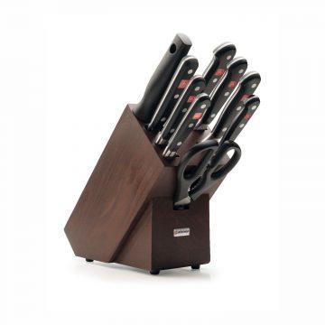 Juego de cuchillos en taco de madera oscura – 7 cuchillos, chaira y tijeras de cocina – Wüsthof Classic 9843