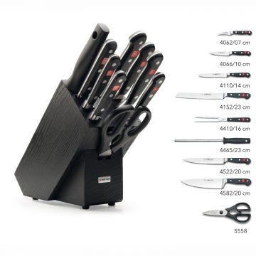 Juego de cuchillos en taco de madera negra – 7 cuchillos, chaira y tijeras de cocina – Listado del contenido – Wüsthof Classic 9844