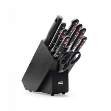 Juego de cuchillos en taco de madera negra – 7 cuchillos, chaira y tijeras de cocina – Wüsthof Classic 9844