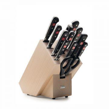 Juego de cuchillos en taco de madera – 10 cuchillos, chaira y tijeras de cocina – Wüsthof Classic 9846