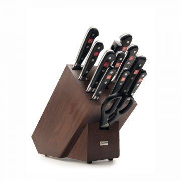 Juego de cuchillos en taco de madera oscura – 10 cuchillos, chaira y tijeras de cocina – Wüsthof Classic 9847
