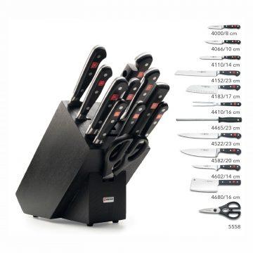 Juego de cuchillos en taco de madera negra – 10 cuchillos, chaira y tijeras de cocina – Listado del contenido – Wüsthof Classic 9848