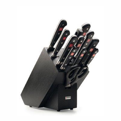 Juego de cuchillos en taco de madera negra - 10 cuchillos, chaira y tijeras de cocina - Wüsthof Classic 9848
