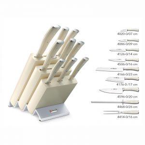 Taco Madera Blanca + 9 piezas (8 cuchillos + chaira) - Wüsthof Classic Ikon Creme 9874