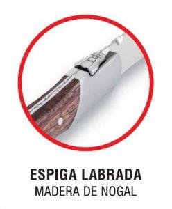 Detalle de la espiga del chuletero 3 Claveles Gourmet 1480 - Cuchillalia