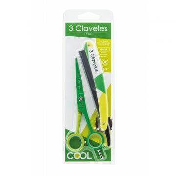 Anverso del blister del kit de tijeras de peluquería de Corte de 5,5″ y navaja – 3 Claveles Cool Verde 18179 – Cuchillalia