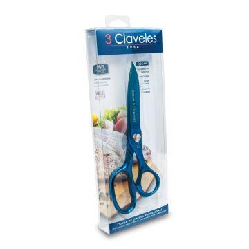 Estuche de las tijeras de cocina de titanio en color azul, 3 Claveles Ocean 448