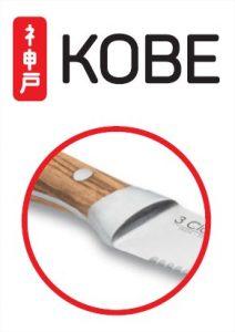 Detalle de la espiga del cuchillo chuletero 3 Claveles Kobe