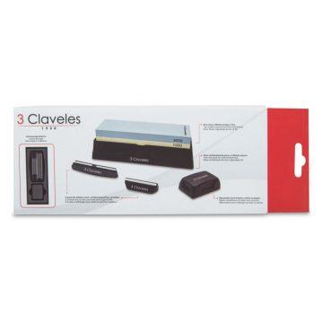 Caja del kit de piedra de afilar con 2 guías, base antideslizante y piedra de rectificar – 3 Claveles 9428 – Cuchillalia