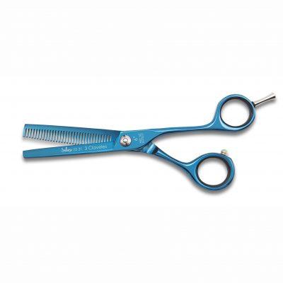 Tijeras de peluquería para esculpir en titanio azul - 3 Claveles Silex Tin 12817 - Cuchillalia