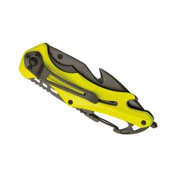 Navaja de seguridad Baladéo Emergency de color amarillo – mostrando clip cinturón – Cuchillalia.com